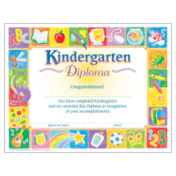 """TREND Certificates, Kindergarten Classic Diploma, 8 1/2"""" x 11"""", Multicolor, Kindergarten, Pack Of 30"""