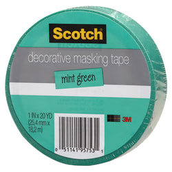 "Scotch® Decorative Masking Tape, 1"" x 20 Yd., Mint"