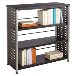 """Safco Scoot Contemporary Design Bookcase - 36"""" x 15.5"""" x 36"""" - 3 Shelve(s) - Material: Steel, Particleboard - Finish: Black, Laminate, Powder Coated"""