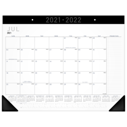 """AT-A-GLANCE® Contemporary Academic Monthly Desk Pad Calendar, 21-3/4"""" x 17"""", July 2021 To June 2022, AY24X00"""