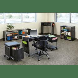 "Safco Scoot Sit-Down Contemporary Design Workstation - 29.8"" x 22"" x 32.5"" - Material: Steel, Fiberboard - Finish: Gray, Laminate"