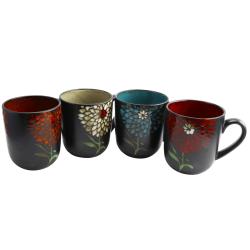 Gibson Home Gardenia Cafe 4-Piece Mug Set, 16 Oz, Assorted Colors