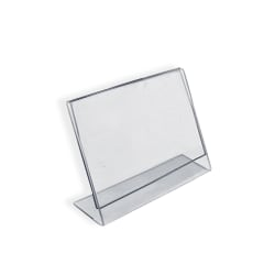 """Azar Displays Acrylic L-Shaped Sign Holders, 2"""" x 3"""", Clear, Pack Of 10"""