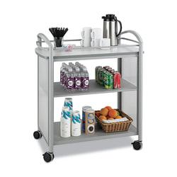 "Safco® Impromptu 1-Shelf Steel Beverage Cart, 36 1/2""H x 34""W x 21 1/4""D, Gray"