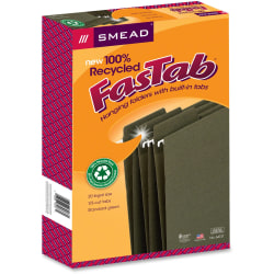 Smead® FasTab® Hanging Folders, Legal Size, 100% Recycled, Standard Green, Box Of 20 Folders