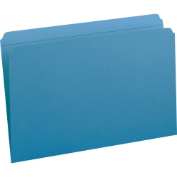 """Smead File Folders with Reinforced Tab - Legal - 8 1/2"""" x 14"""" Sheet Size - 3/4"""" Expansion - Straight Tab Cut - 11 pt. Folder Thickness - Blue - 1.39 oz - Recycled - 100 / Box"""