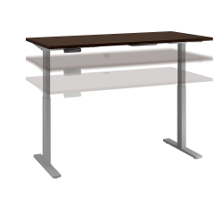 """Bush Business Furniture Move 60 Series 60""""W x 30""""D Height Adjustable Standing Desk, Mocha Cherry/Cool Gray Metallic, Standard Delivery"""