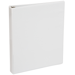 "Just Basics® Round-Ring View Binder, 1"" Rings, 40% Recycled, White"