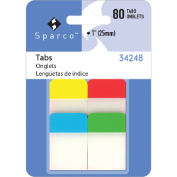 """Sparco 1"""" Durable Tabs - Write-on Tab(s) - Assorted Tab(s) - 80 / Pack"""