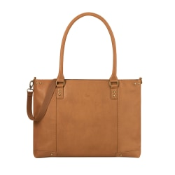 "Solo® Greenwich Tote With 15.6"" Laptop Pocket, Tan/Burgundy"
