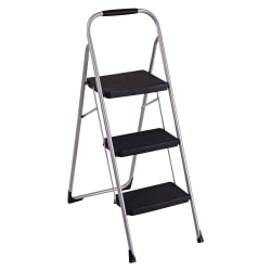 "Cosco Ultra-Thin 3-Step Ladder, 200 Lb Capacity, 52 3/4"", Black/Platinum"