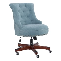 Linon Home Decor Products Dallas Fabric Mid-Back Home Office Chair, Aqua/Dark Walnut