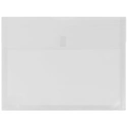 "JAM Paper® Plastic Booklet Expansion Envelopes With Hook & Loop Closure, Letter-Size, 9 3/4"" x 13"", Clear, Pack Of 12"