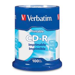 Verbatim® CD-R Printable Disc Spindle, White, Pack Of 100