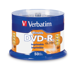 Verbatim® Life Series DVD-R Printable Disc Spindle, Pack Of 50