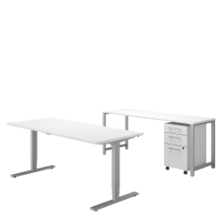 "Bush Business Furniture 400 Series 72""W x 30""D Height Adjustable Standing Desk With Credenza And Storage, White, Standard Delivery"