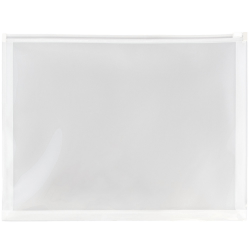 "JAM Paper® Plastic Envelopes With Zipper Closure, Letter-Size, 9 3/4"" x 13"", Clear, Pack Of 12"