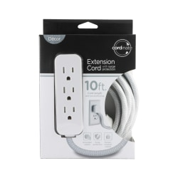 Cordinate Surge 3-Outlet 16 AWG Extension Cord, 10', Gray/White, 37914