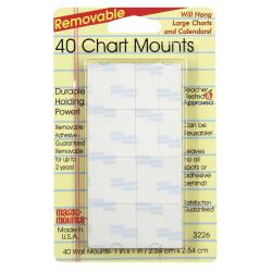 "Miller Studio Removable Magic Mounts®, Chart Mounts, 1"" x 1"", White, 40 Tabs Per Pack, Set Of 6 Packs"