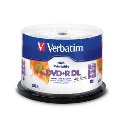Verbatim DVD+R DL 8.5GB 8X White Inkjet Hub Printable 50pk Spindle