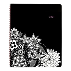 "Cambridge® FloraDoodle Premium 13-Month Weekly/Monthly Appointment Book/Planner, 8-1/2"" x 11"", Black/White, January 2021 to January 2022, 589-905"