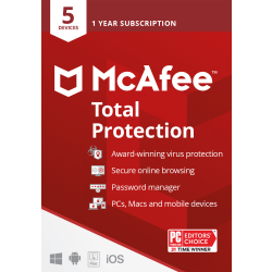 McAfee® Total Protection Antivirus Software, For PC or Mac® 5 Devices, 1 Year Subscription