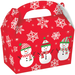 """Amscan Christmas Snowman Gable Boxes, 4-1/2""""H x 4-3/4""""W x 2-3/8""""D, Red, Pack Of 30 Boxes"""