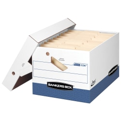 "Bankers Box® Presto™ Storage Boxes, Ergonomic Handles, Letter/Legal, 15"" x 12"" x 10"", 60% Recycled, White/Blue, Pack Of 12"