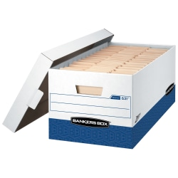"Bankers Box® Presto™ Heavy-Duty Storage Boxes With Locking Lift-Off Lids And Built-In Handles, Letter Size, 24"" x 12"" x 10"", 60% Recycled, White/Blue, Case Of 12"