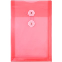 "JAM Paper® Open-End Plastic Envelopes, 6 1/4"" x 9 1/4"", Pink, Pack Of 12"