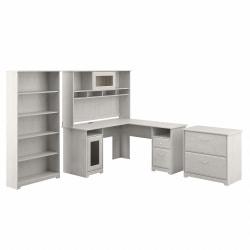 Bush Furniture Cabot L-Shaped Desk With Hutch, Lateral File Cabinet And 5-Shelf Bookcase, Linen White Oak, Standard Delivery