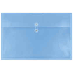 "JAM Paper® Plastic Booklet Envelopes With Button & String Closure, 12"" x 18"", Blue, Pack Of 12"