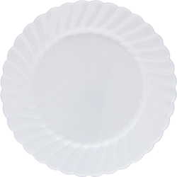 "Classicware WNA Comet Heavyweight Plastic White Plates - 6"" Diameter Plate - Plastic - Disposable - White - 12 Piece(s) / Pack"