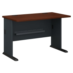 "Bush Business Furniture Office Advantage Desk 48""W, Hansen Cherry/Galaxy, Standard Delivery"