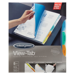 Wilson Jones® View-Tab® Transparent Dividers, 5-Tab, Square, Multicolor, Pack Of 5 Sets