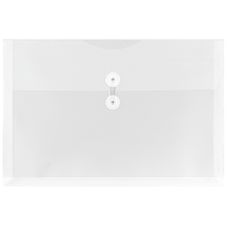 """JAM Paper® Plastic Booklet Envelopes With Button & String Closure, Legal-Size, 9 3/4"""" x 14 1/2"""", Clear, Pack Of 12"""