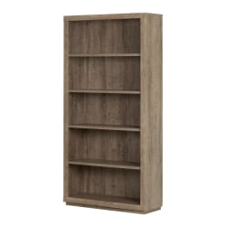 South Shore Kanji 5-Shelf Bookcase, Weathered Oak