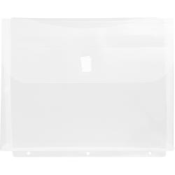 """JAM Paper® Plastic 3-Hole Punch Binder Envelopes, 8-5/8"""" x 11 1/2"""", Clear, Pack Of 12 Envelopes"""