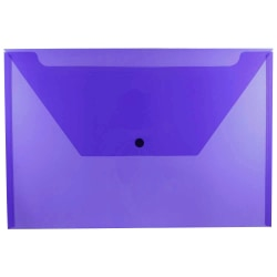 """JAM Paper® Plastic Booklet Envelopes With Snap Closure, Legal Size, 9 3/4"""" x 14 1/2"""", Purple, Pack Of 12"""