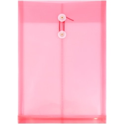 "JAM Paper® Open-End Plastic Envelopes, Legal-Size, 9 3/4"" x 14 1/2"", Pink, Pack Of 12"