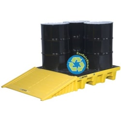 EcoPolyBlend Spill Control Pallets, Yellow, 73 gal, 49 in x 49 in, No Drain