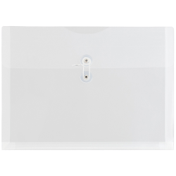 """JAM Paper® Booklet Plastic Envelopes With Button & String Closure, Letter-Size, 9 3/4"""" x 13"""", Clear, Pack Of 12"""