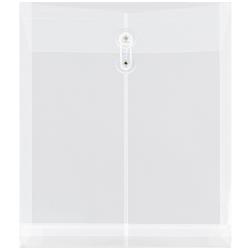 "JAM Paper® Open-End Plastic Envelopes, Letter-Size, 9 3/4"" x 11 3/4"", Clear, Pack Of 12"