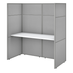 """Bush Business Furniture Easy Office 60""""W Cubicle Desk Workstation With 66""""H Closed Panels, Pure White/Silver Gray, Premium Installation"""