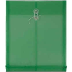 "JAM Paper® Open-End Plastic Envelopes, Letter-Size, 9 3/4"" x 11 3/4"", Green, Pack Of 12"