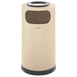 Rubbermaid® Commercial European And Metallic Series Round Steel Waste Receptacle With Sand Urn, 12 Gallons, Almond