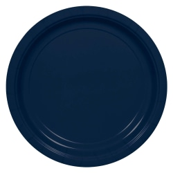 """Amscan Round Paper Plates, 7"""", True Navy, Pack Of 150 Plates"""
