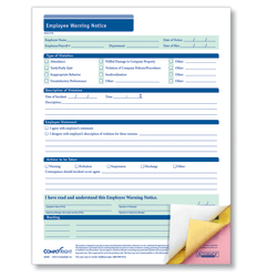 """ComplyRight Carbonless Employee Warning Notice Forms, 3-Part, 8 1/2"""" x 11"""", White, Pack Of 50"""
