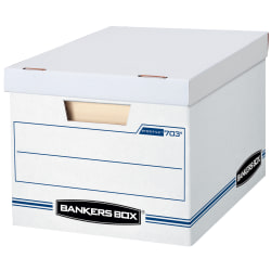 "Bankers Box® Stor/File™ Standard-Duty Storage Boxes With Lift-Off Lids And Built-In Handles, Letter/Legal Size, 10"" x 12"" x 15"", 60% Recycled, White/Blue, Case Of 10"