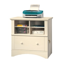 "Sauder® Harbor View 32""W Lateral 1-Drawer File Cabinet, Antiqued White"